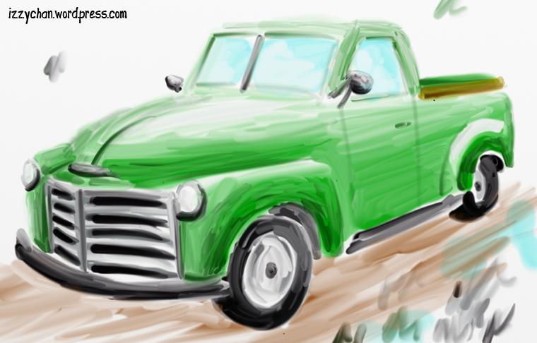 green pickup truck artrage watercolor