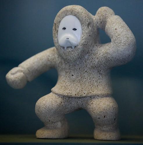 Whale bone carved figure walrus ivory face native