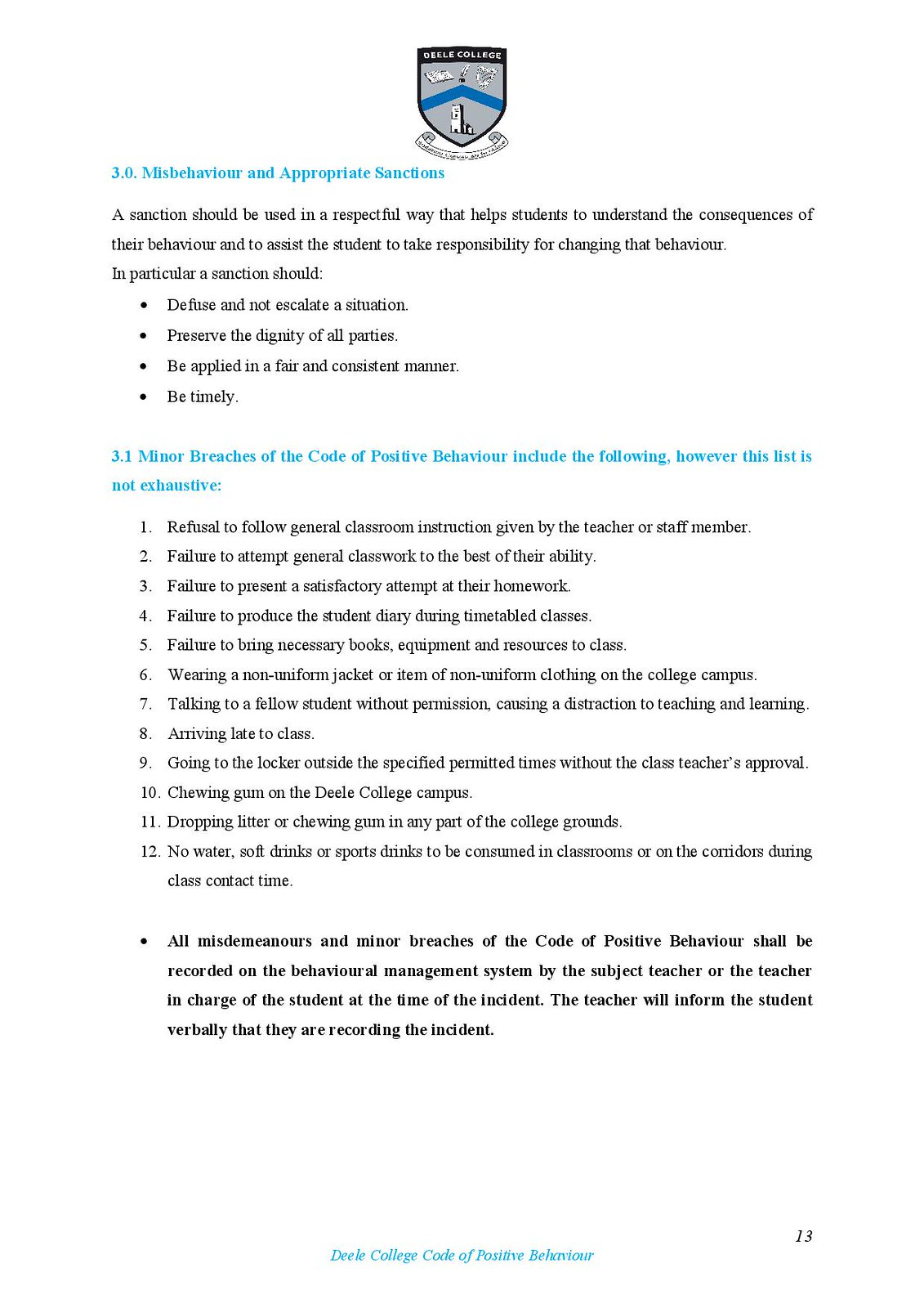 Deele College Code of Positive Behaviour Booklet 2016-page-013