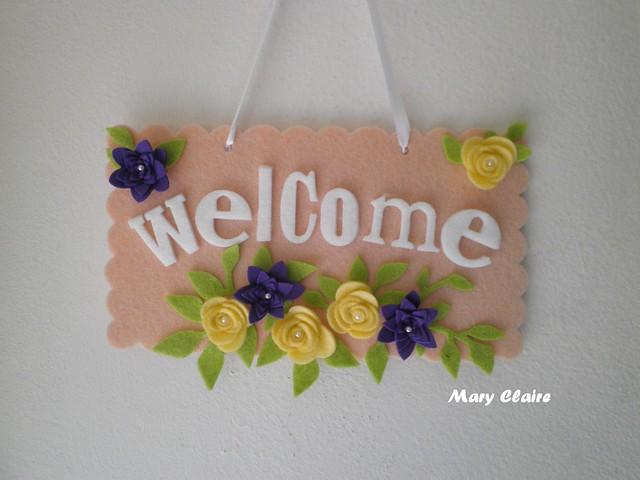 targhetta fuoriporta welcome rosa fiori viola e gialli