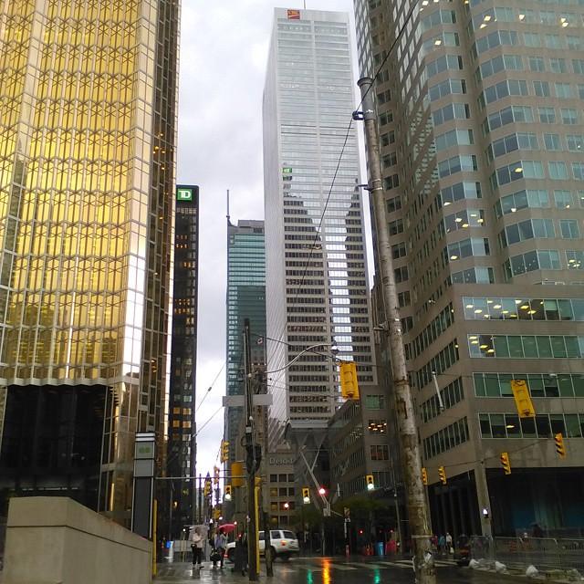 Financial District in the rain #toronto #financialdistrict #skyscraper #rain #baystreet #frontstreet