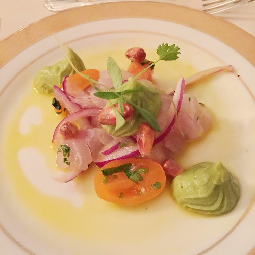 Ceviche Andina. Flounder, Peruvian avocados, sweet potatoes, Cancha ...