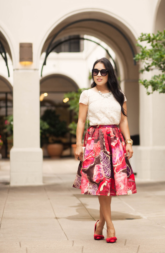cute & little blog | petite fashion | lace top, red floral pleated midi skirt, red bow heels | outfit