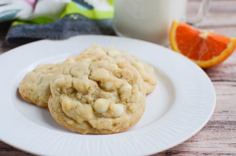 White Chocolate Orange Cookies - chewy white chocolate chip cookies with fresh orange zest mixed in!