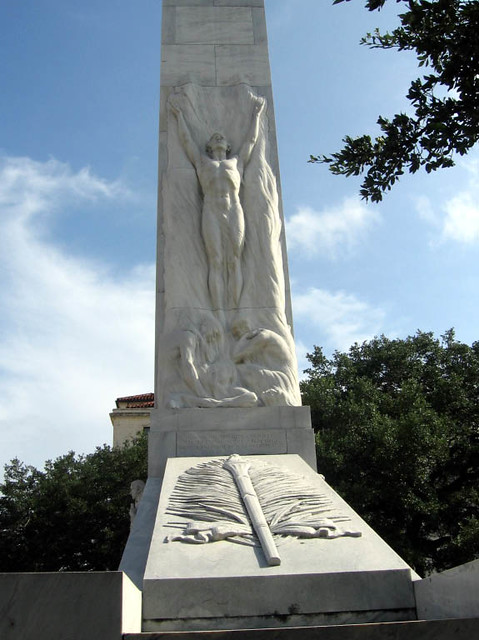 Alamo Cenotaph Detail Figure The Monument At The