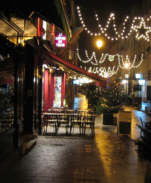 French Cafe Winter Evening A Cafe In Versailles Near The