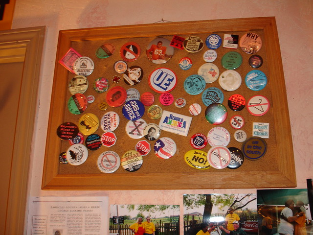 Buttons on Wall of Office at Okra Festival, Burkville AL