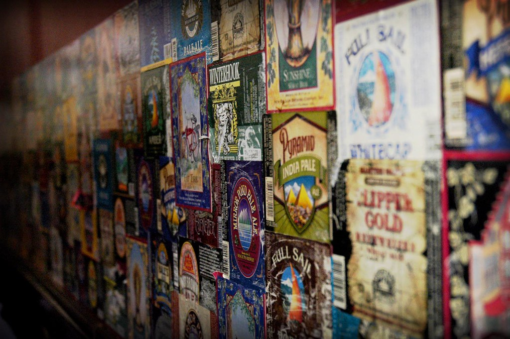Beer Labels On The Wall At The Red Door In Fremont