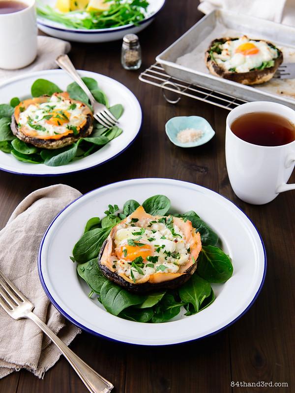 Egg, Salmon & Goat Cheese Baked Mushrooms