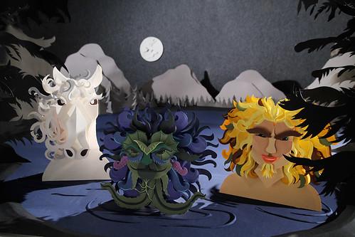 Nøkken Paper Sculpture Scene by Katrine Hesselberg