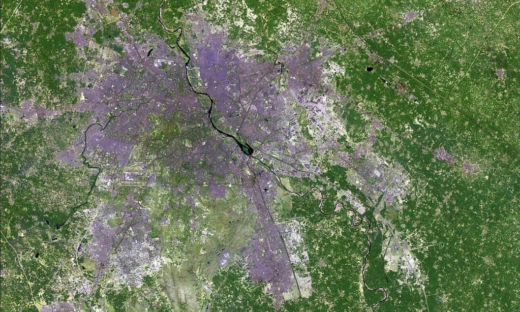 印度新德里的都市擴張。圖片來源:OLI/Landsat 8/USGS/NASA