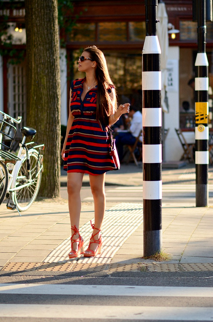 DSC_5704 Tamara Chloé, Striped Red dress, Red Geox espadrilles, Red Zara Bag