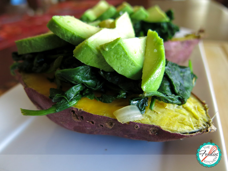 Baked Sweet Potato with Spinach and Avocado