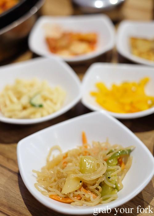 Free panchan side dishes at PR Korean Restaurant, Lidcombe