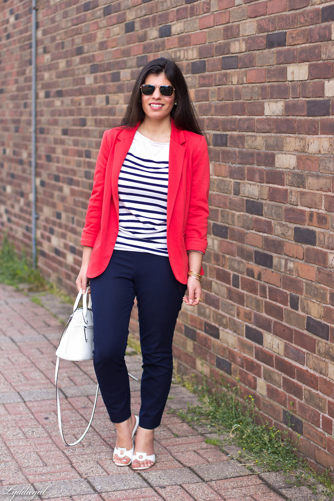 red blazer, striped shirt, navy trousers, white bag-6.jpg