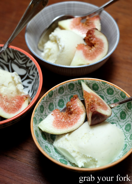 Homemade fig leaf ice cream with fresh figs at our Stomachs 11 Christmas dinner 2016