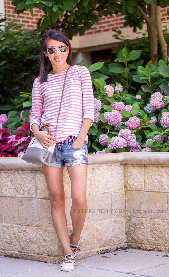 pink striped top, navy striped belt, distressed shorts, colorblocked crossbody bag, boat shoes