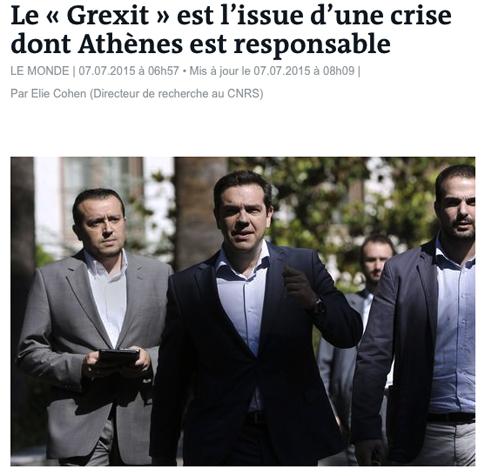 15g07 LMonde E Cohen Atenas es responsable de la Grexit