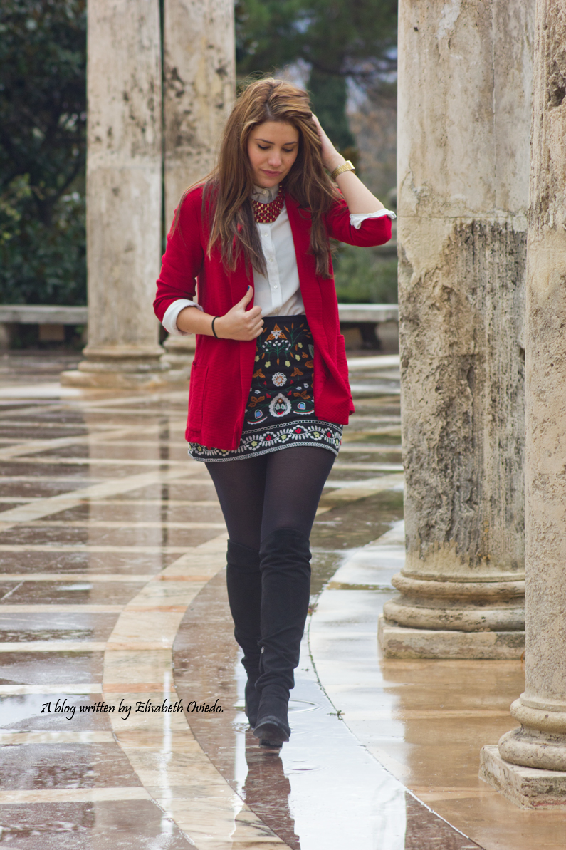 falda zara zaful negra estampado tribal blazer roja look  (5)
