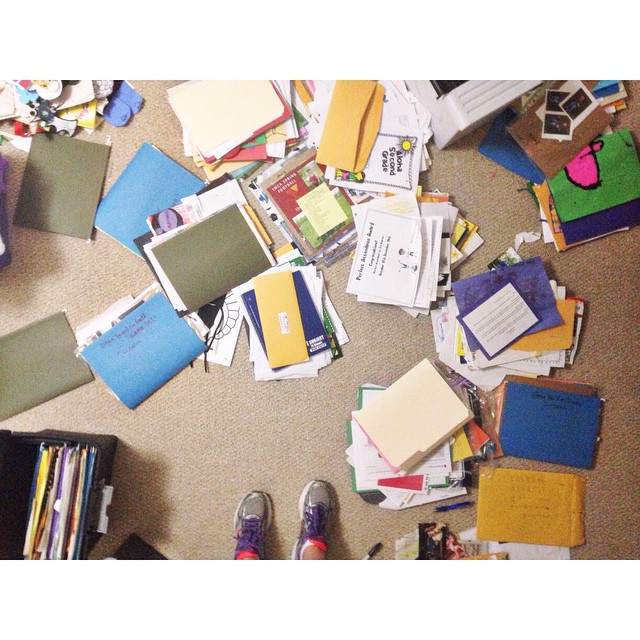 Mission : organize basement . Task 1: deal with all the school papers I have been collecting back to 2008 x 3 kids 😬