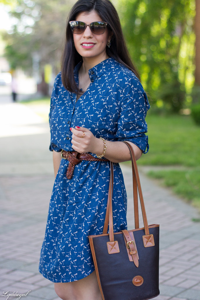 dragonfly print shirtdress, leather tote, sandals-3.jpg