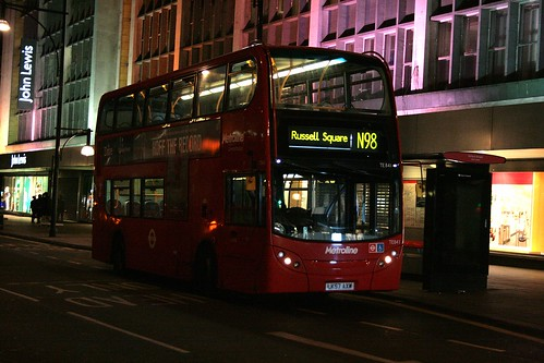 Metroline TE841 on Route N98, Oxford Street