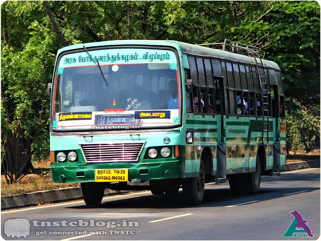 TN-25N-0302 of Tiruvannamalai 2 Depot Route 123 Exp Tiruvannamalai - Adyar via Gingee, Melmaruvathur, Perungalathur, Tambaram East, Medavakkam, Velachery.