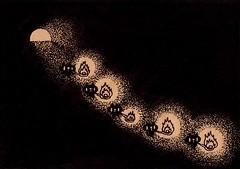 クラフト紙42_ランプを持って穴の中を歩く黒プレーン