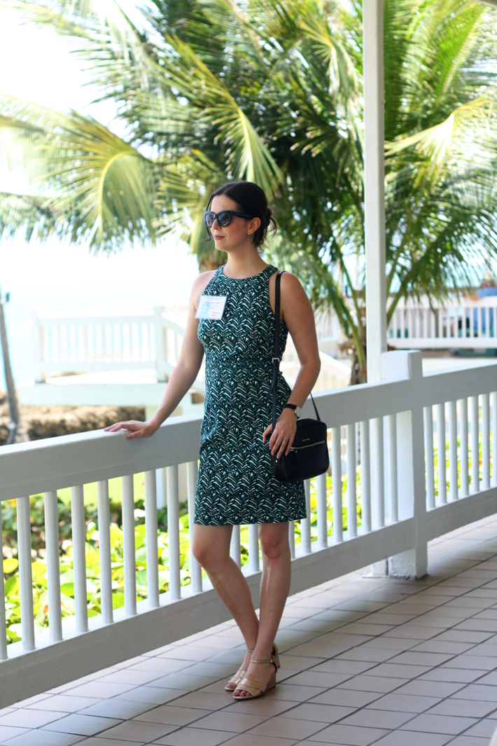 professional outfit: fitted palm leaf print dress, gold wedges