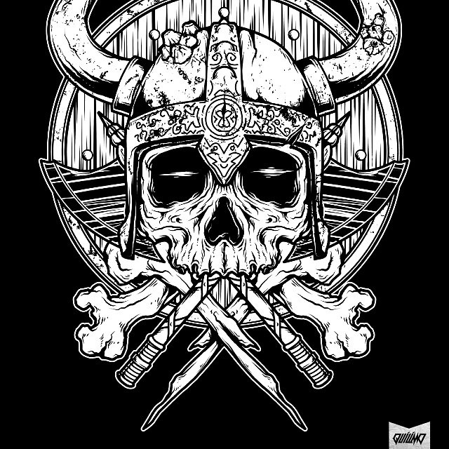 daily tees artwork 2 skull viking for commission artw