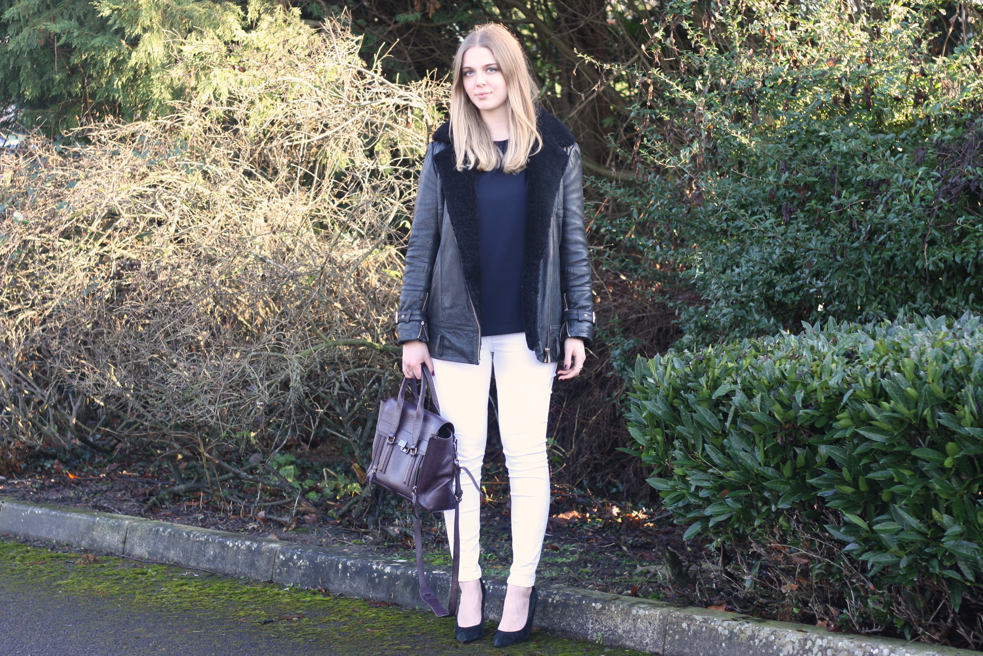 Zara navy swing top, Topshop white skinny jeans and Whistles black suede heels