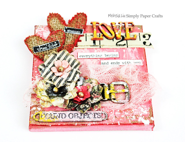 Meihsia Liu Simply Paper Crafts Mixed Media Mini Canvas Love Valentines Simon Says Stamp Monday Challenge Tim Holtz Prima Flowers 1