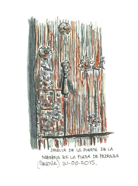 Pedraza (Segovia). Cerradura y aldaba de la taberna