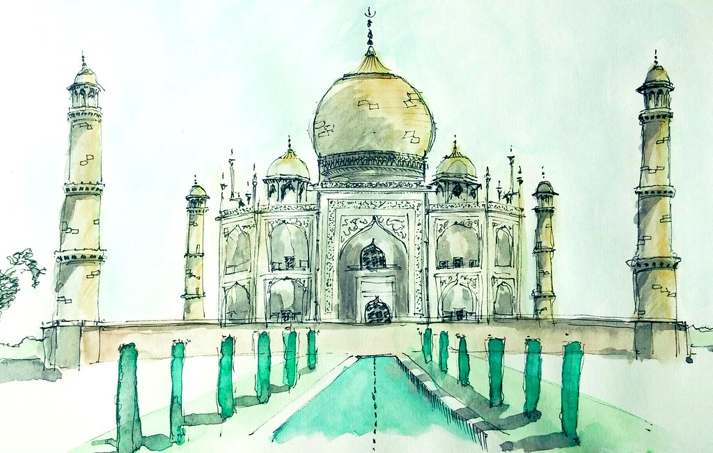 Taj Mahal pen and ink watercolor wash | lowlova | Flickr