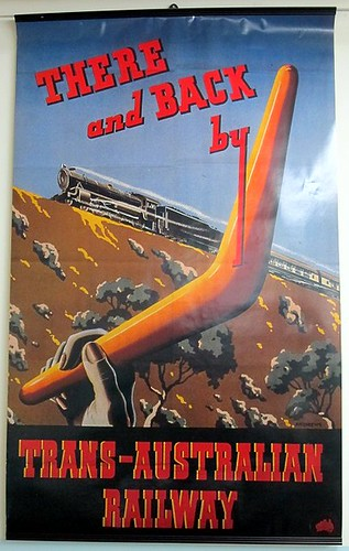 Trans-Australia Railway boomerang poster