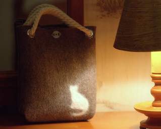cat-fur-embellished mini tote bag