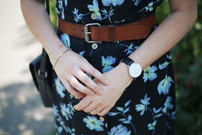 outfit: vintage floral button through maxi dress, vintage leather belt