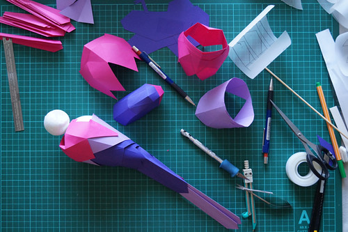 Magenta Rosella Paper Sculpture Construction