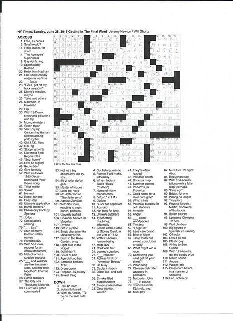 NYT Sunday Puzzle - June 28, 2015