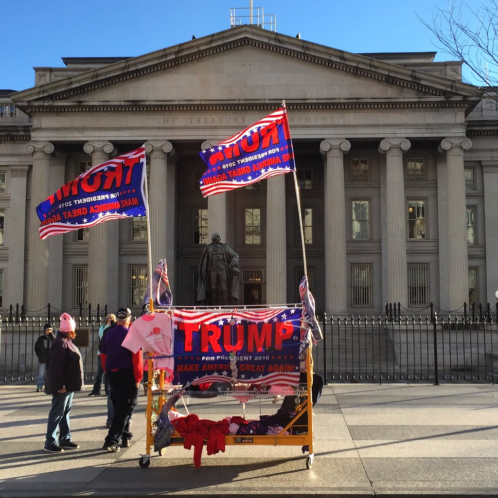 Trump merchandise for sale outside Treasury Building