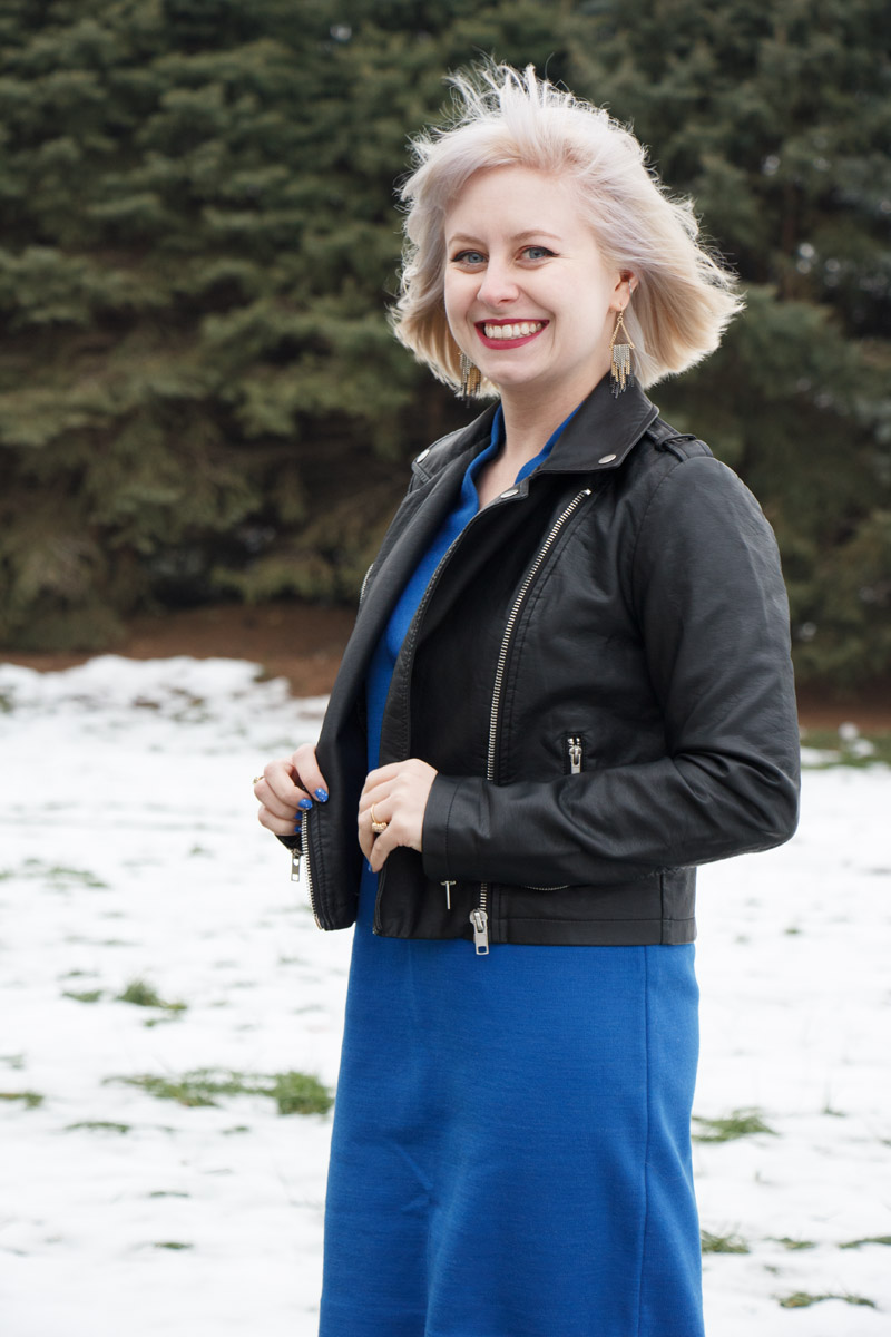 Cool Blonde Hair, Leather Jacket, and a Cobalt Blue Dress