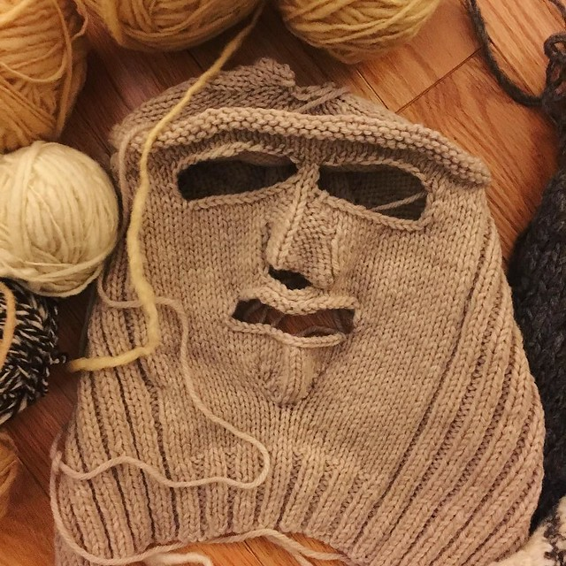 Among a bunch of unfinished projects that my grandmother gave me is this. I think I'll seam the back shut, add some embroidery and call it my #waqollo mask. To wear when I'm rioting.
