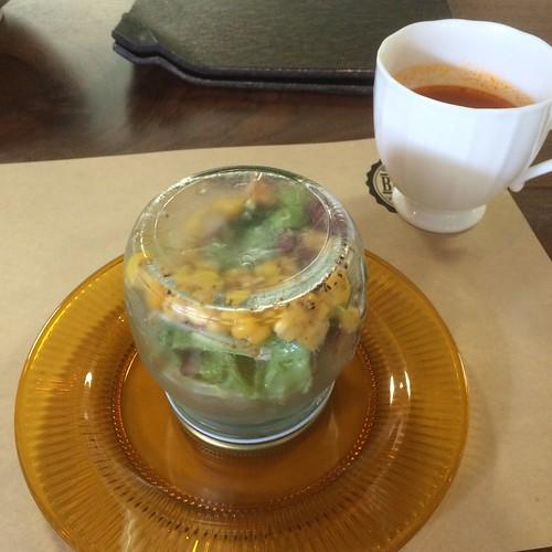 当別浅野農場スマイルポークのトンテキランチのサラダ瓶 at Brocante