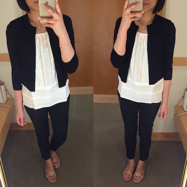 LOFT Cropped Cardigan, Fringe Festival Top, Tech Stretch Skinny Ankle Pants in Marisa Fit
