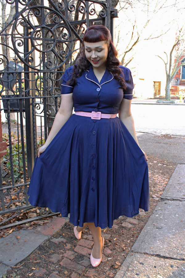 navy dress retro