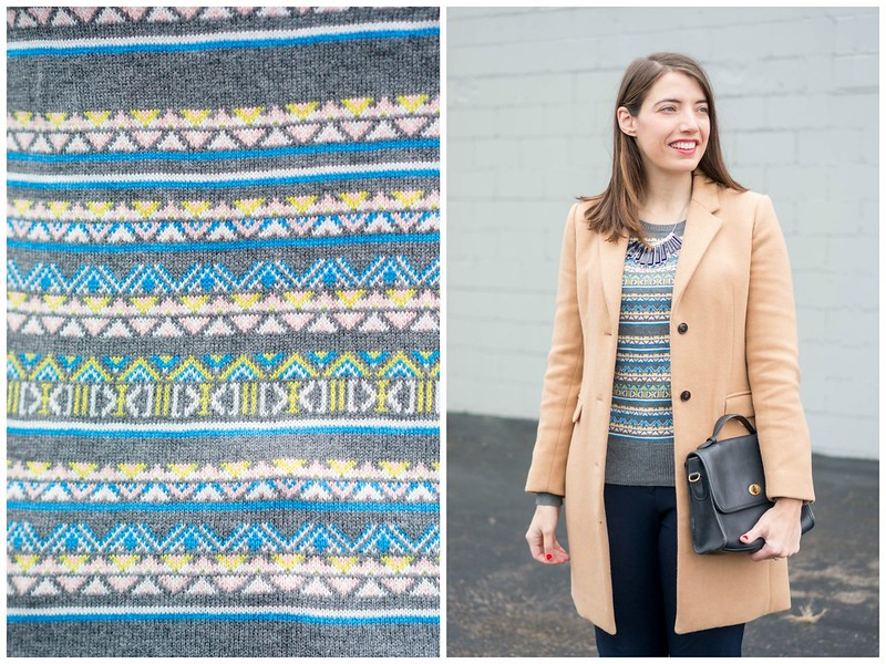 fair isle sweater gray + navy dress pants + tan camel winter dress coat + winter work outfit | Style On Target blog