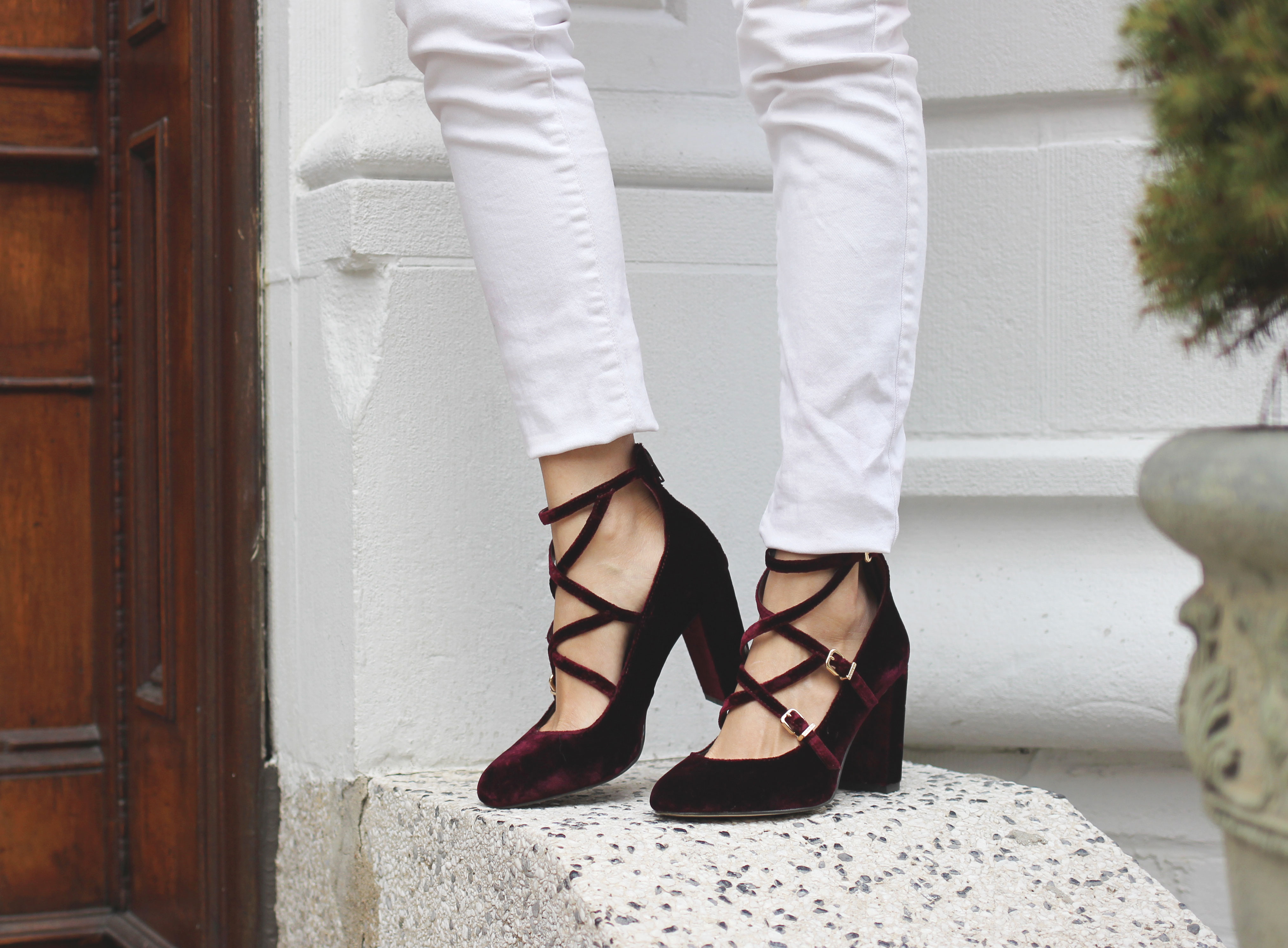Strappy lace up velvet Mary Jane pumps