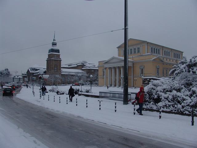 Karolinenplatz Darmstadt Im Schnee Der Karolinenplatz In