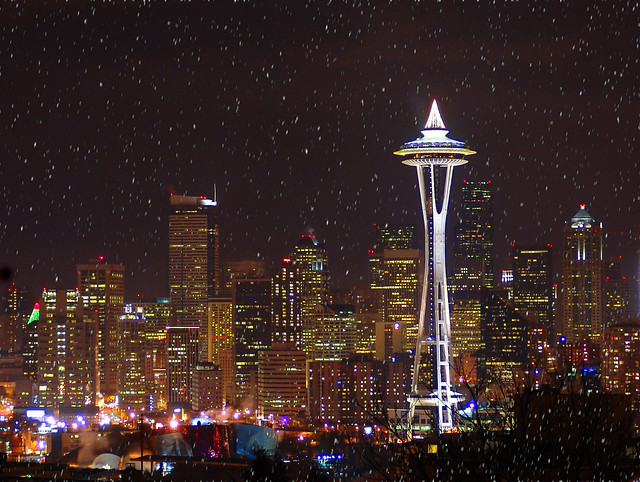 seattle skyline at christmas w snow by markwells