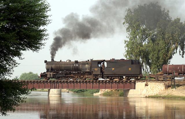Steam Engine Locomotive Passing A Bridge Near Mirpurkhas P